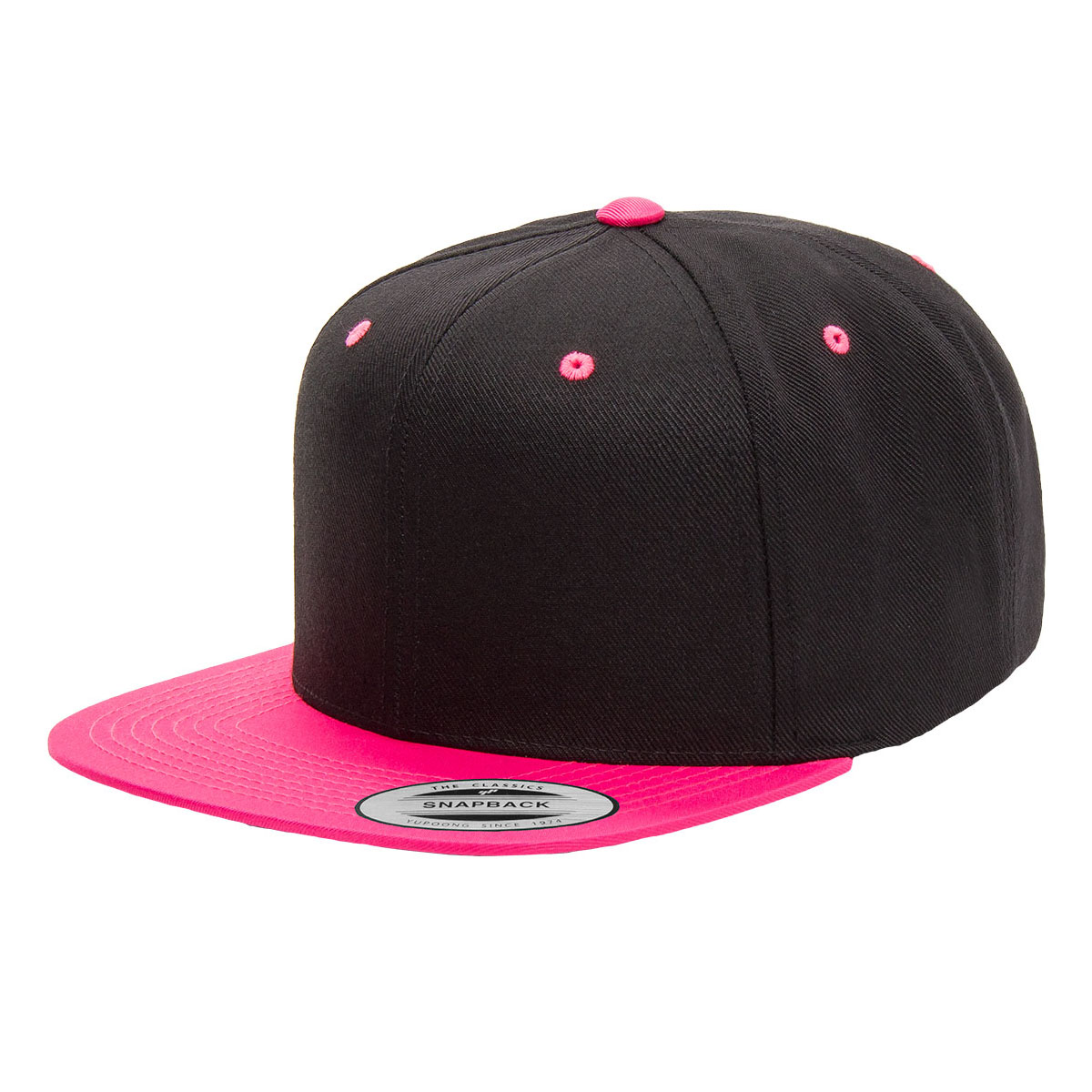 Black Neon Pink Snapback Embroidered – Whats A Name Embroidery 12062512e89