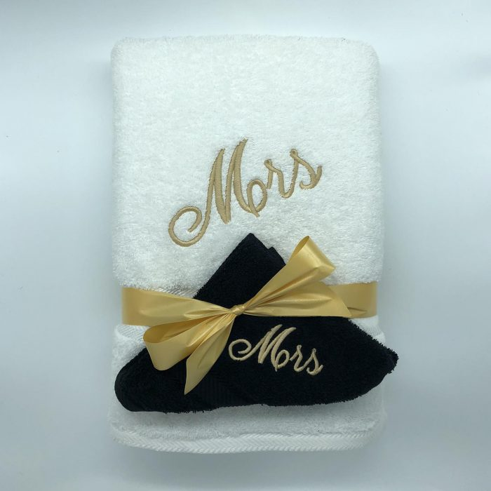 Ritz Gift Set White and Black with Gold Thread