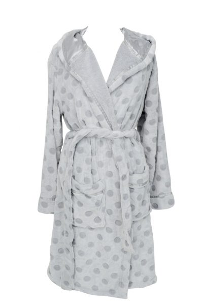 Annabel Trends Bath Robe Polka Dot Silver/Grey